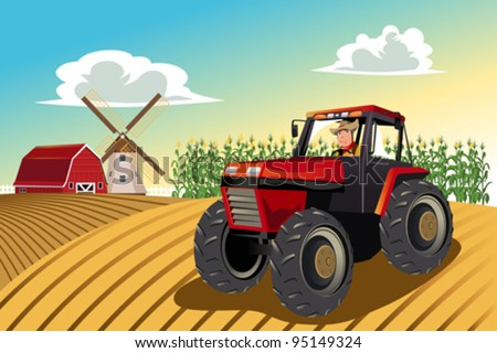 A vector illustration of a farmer riding a tractor working in his farm - stock vector