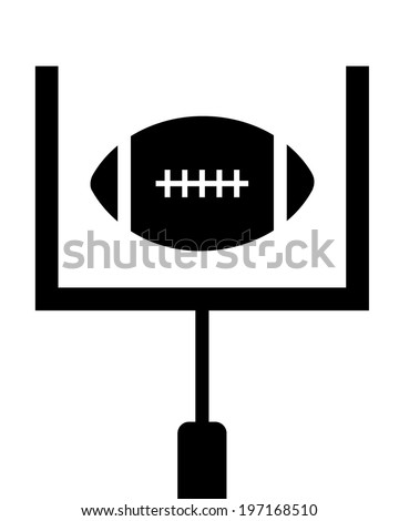 A vector illustration of a football being kicked through the uprights - stock vector