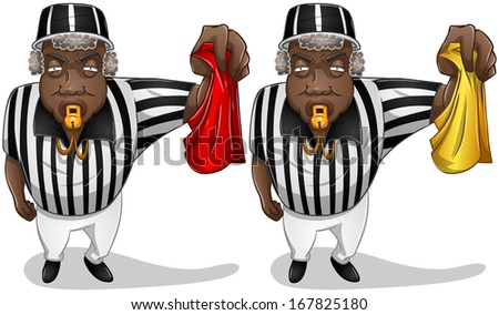 A vector illustration of a football referee holding a red or yellow flag and whistles.  - stock vector
