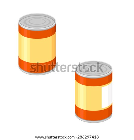 A vector illustration of a generic tin can. Tin Can Icon Illustration. Tinned goods preserved. - stock vector