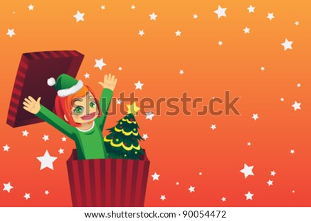 A vector illustration of a girl celebrating Christmas