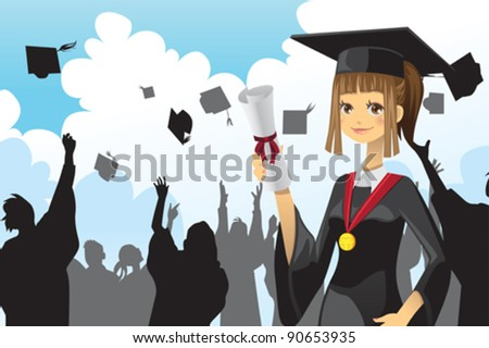 A vector illustration of a graduation girl holding her diploma with her friends in the background