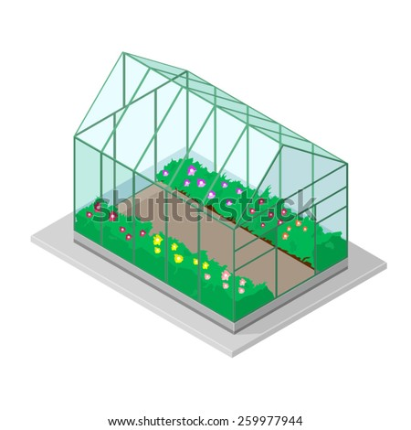 A vector illustration of a greenhouse with flowers. Greenhouse with flowers. Colorful modern greenhouse. - stock vector