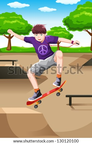A vector illustration of a happy kid playing skateboard while listening a music - stock vector
