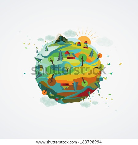 A vector illustration of a happy planet/Happy Planet