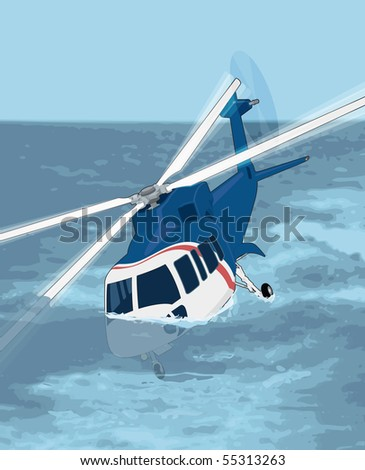A vector illustration of a helicopter ditching into the sea - stock vector