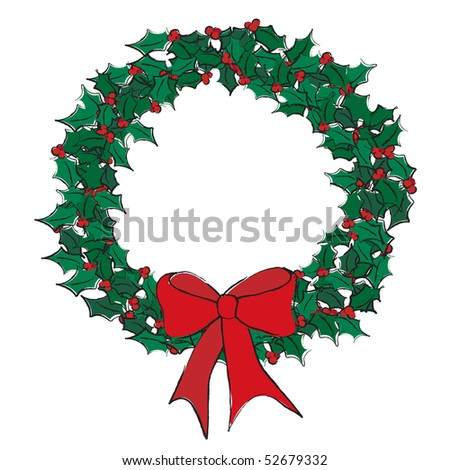 A vector illustration of a holly wreath on white. Sketch style with space for text - stock vector