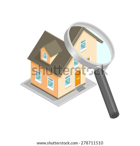 A vector illustration of a house being checked. Isometric House inspection icon. Isometric House Survey with magnifying glass. - stock vector