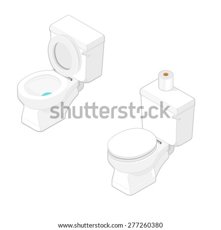 A vector illustration of a household toilet. Isometric toilet Illustration Icon. Modern isometric bathroom toilet with toilet paper. - stock vector