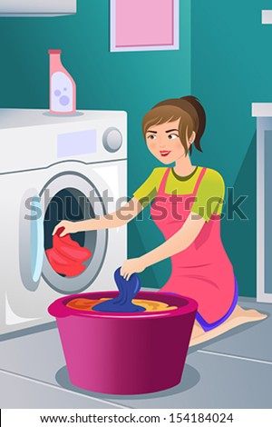 A vector illustration of a housewife doing laundry