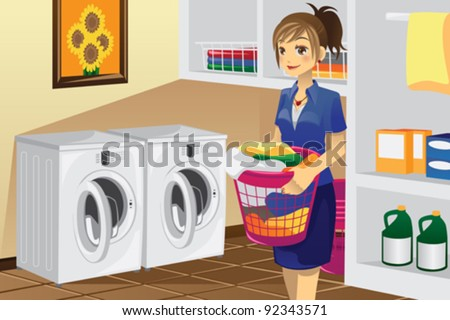 A vector illustration of a housewife doing laundry in the laundry room