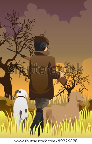 A vector illustration of a hunter going hunting with his two dogs - stock vector