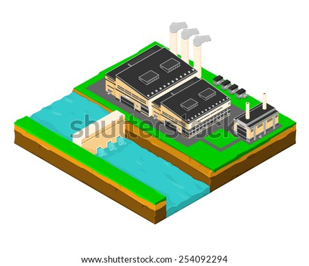 A vector illustration of a hydroelectric power station for renewable energy. Isometric hydroelectric power station. hydroelectric power plant. - stock vector