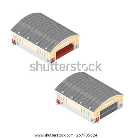 A vector illustration of a isometric hangers. Large buildings for the distribution of goods or storage. - stock vector