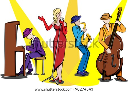 A vector illustration of a jazz ensemble performing