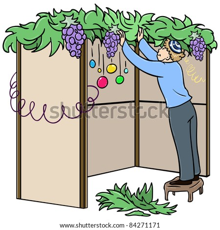 A vector illustration of a Jewish guy standing on a stool and building a Sukkah for the Jewish holiday Sukkot. - stock vector
