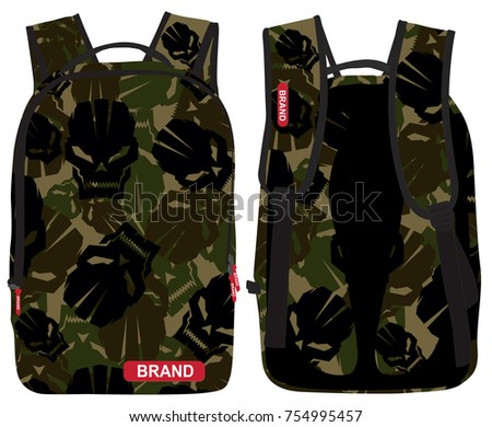 a vector illustration of a laptop backpack with  a camouflage pattern made of sharp edge skull and from the colors of forest camouflage black olive and brown , backpack for school books notebook