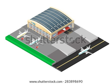 A vector illustration of a large aircraft hanger building. Isometric airport hanger with plane and mechanics. Jet passenger planes undergoing maintenance. - stock vector