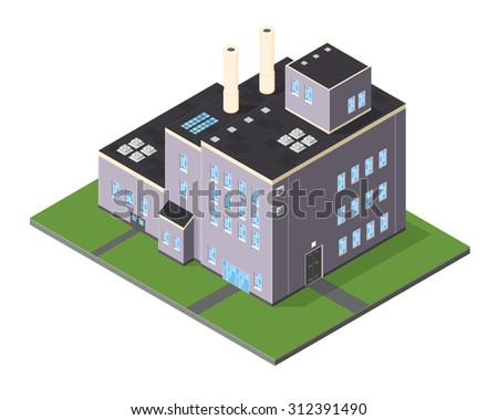 A vector illustration of a large factory power plant. Isometric factory power plant. Large style industrial factory warehouse. - stock vector