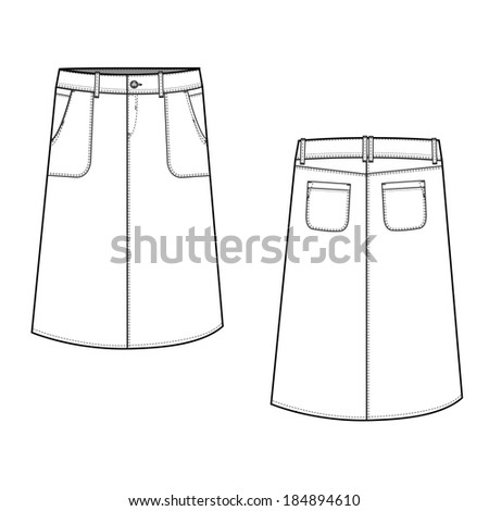 A vector illustration of A - Line Fashion Skirt  - stock vector