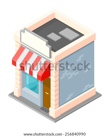 A vector illustration of a little isometric shop. Little isometric shop. Small Isometric business store. - stock vector
