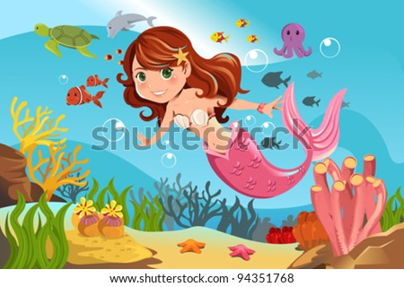 A vector illustration of a mermaid swimming underwater in the ocean - stock vector
