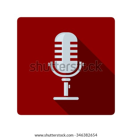 A vector illustration of a MIC for home or studio recordings. Flat illustration Icon of a Microphone. Recording audio equipment. - stock vector