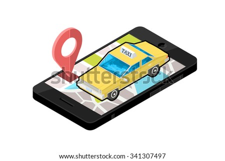 A vector illustration of a mobile phone with a Taxi Cab location. Isometric mobile phone Taxi Cab Map. Mobile device with taxi service navigation.