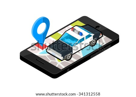 A vector illustration of a mobile phone with police station location. Isometric illustration vector mobile phone Police Map. Mobile device with emergency service Law Enforcement navigation.