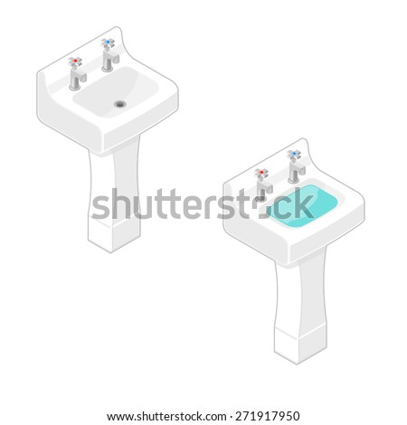 A vector illustration of a modern bathroom ceramic sink. Isometric Sink illustration Icon. Household sink for hygiene and cleanliness concept.