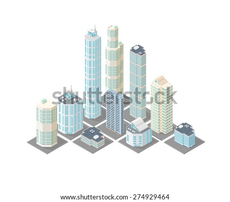 A vector illustration of a modern cityscape on tiles. Isometric cityscape illustration. Isometric urban district city scape. - stock vector
