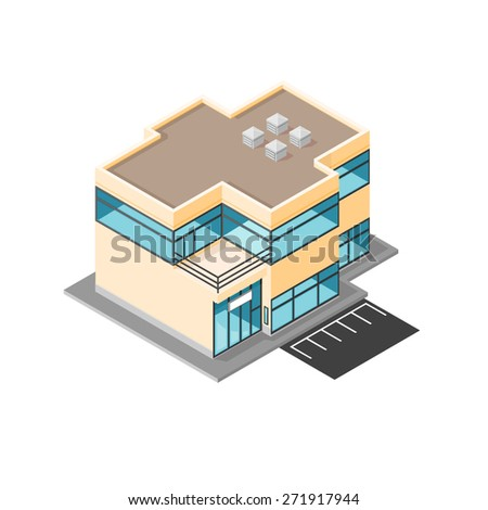 A vector illustration of a modern office building. Isometric Modern Office building Icon. Company business building. - stock vector
