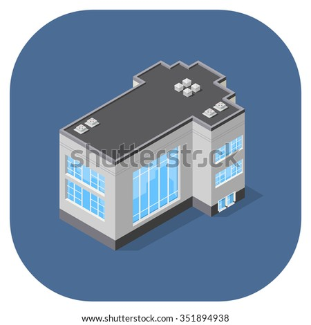 A vector illustration of a modern office building.  Isometric office icon.  Offices and workplace icons.