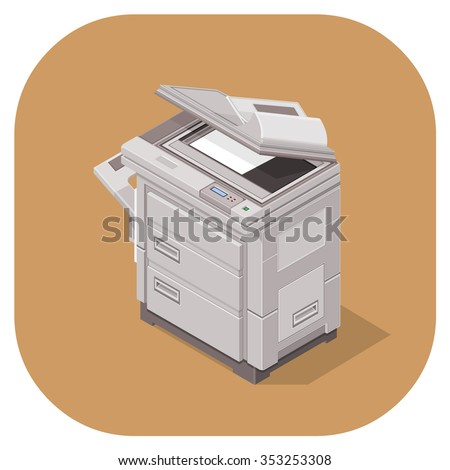 A vector illustration of a modern office photocopier. Isometric vector photocopier machine icon illustration. office equipment.