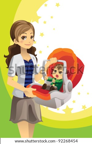A vector illustration of a mother carrying her baby in a car seat - stock vector