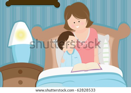 A vector illustration of a mother reading a bedtime story to her son - stock vector