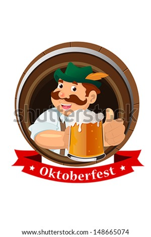 A vector illustration of a mustache guy holding beers celebrating Oktoberfest - stock vector