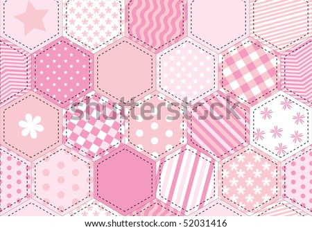 A vector illustration of a patchwork quilt background in shades of pink - stock vector