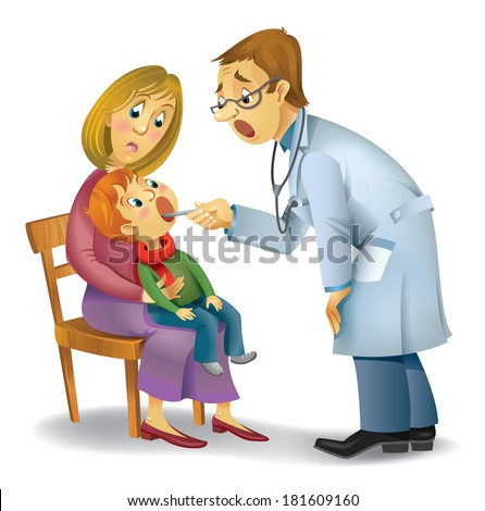 A vector illustration of a pediatrician performs medical inspection - stock vector
