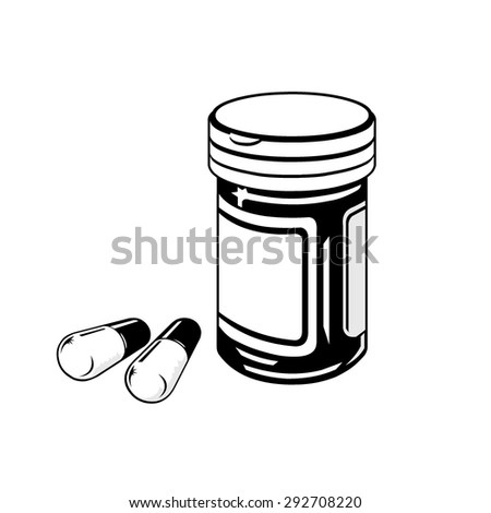 a vector illustration of a pill box medication. Pill Box and Tablet medication Icon. Medicine Bottle with drugs. - stock vector