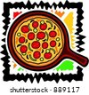 A vector illustration of a pizza. - stock vector