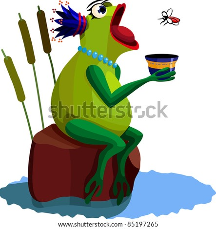 A vector illustration of a Queen-frog, eating a mosquito. - stock vector