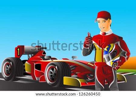 A vector illustration of a race car driver in front of his car - stock vector
