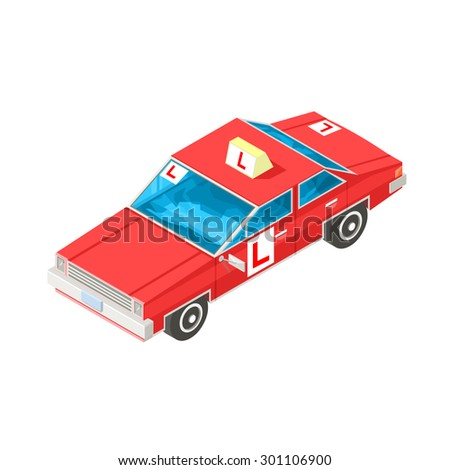 A vector illustration of a red driving instructors car for student. Isometric learning to drive concept icon illustration. Driving school instruction car. - stock vector