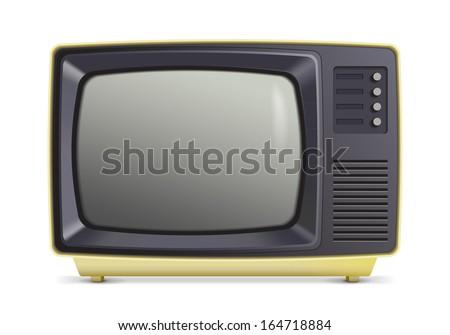 A vector illustration of a retro cream tv./Retro TV Cream  - stock vector