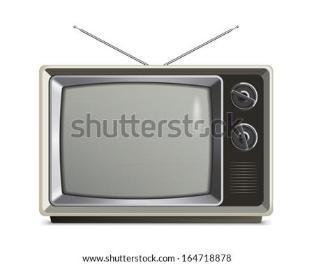 A vector illustration of a retro grey tv./Retro TV Grey - stock vector