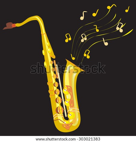 a vector illustration of a saxophone in details with twirled stave and different notes in the air