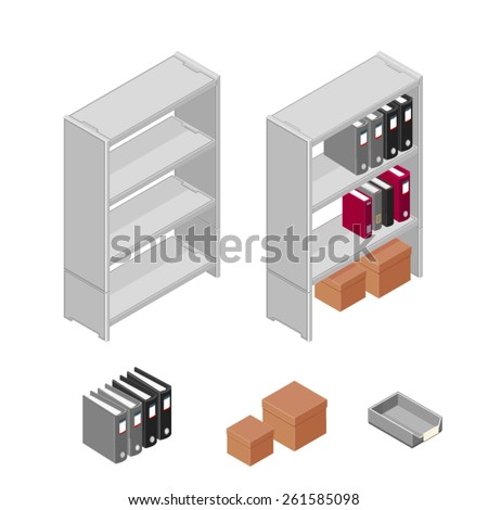 A vector illustration of a set of office filing objects. Files and Shelves. Shelves folders and cardboard boxes for office storage. - stock vector