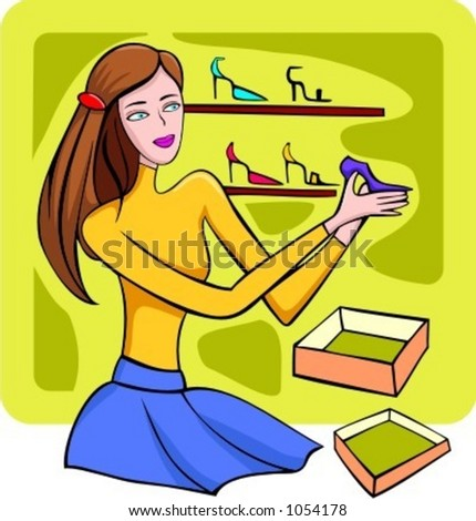 A vector illustration of a shopping red-haired girl trying on a shoes.