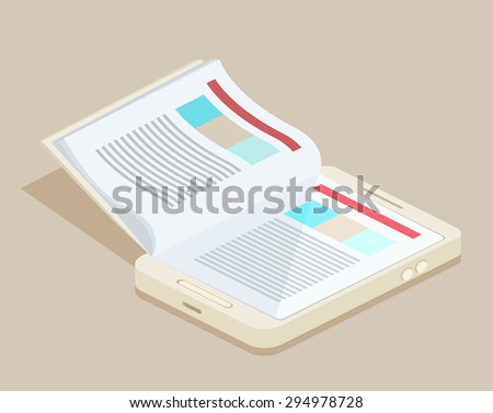 A vector illustration of a smart phone e-book with realistic page flipping effect - stock vector